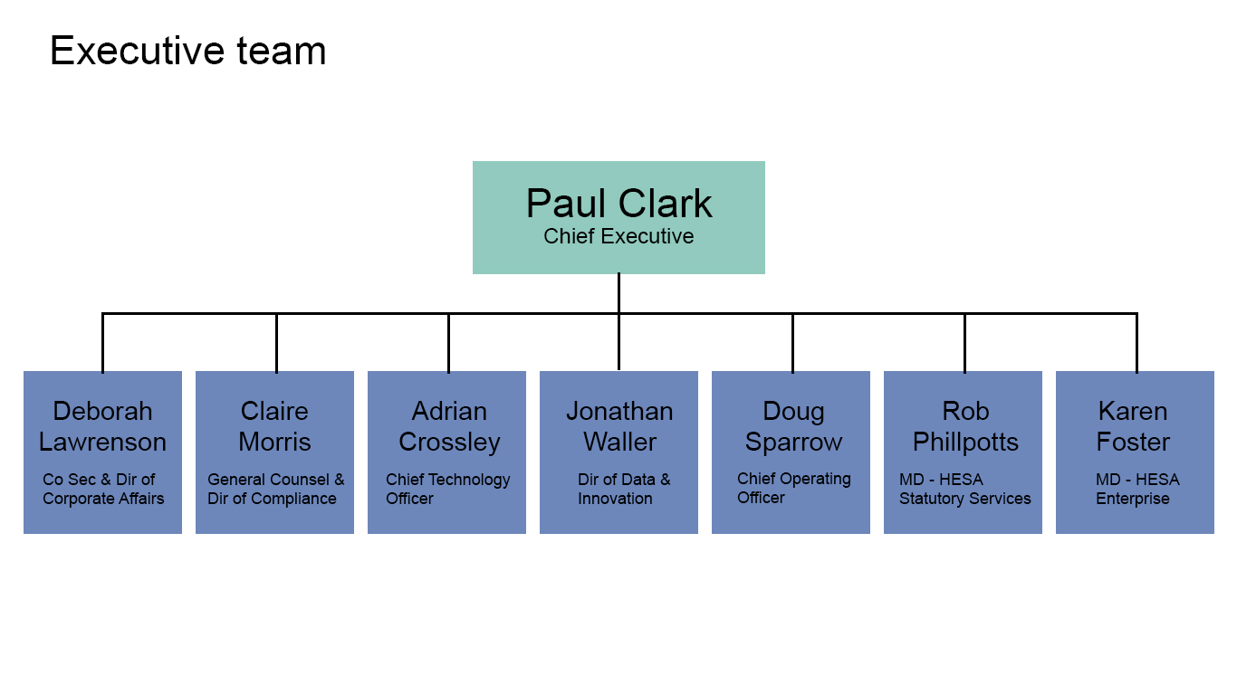 A graphic displaying the HESA Executive team structure.