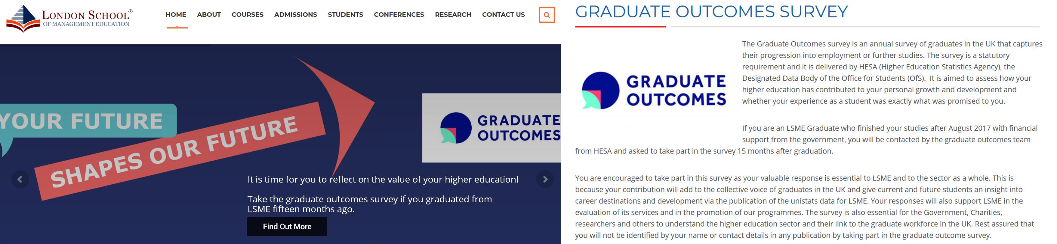 Examples of Graduate Outcomes content on LSME website