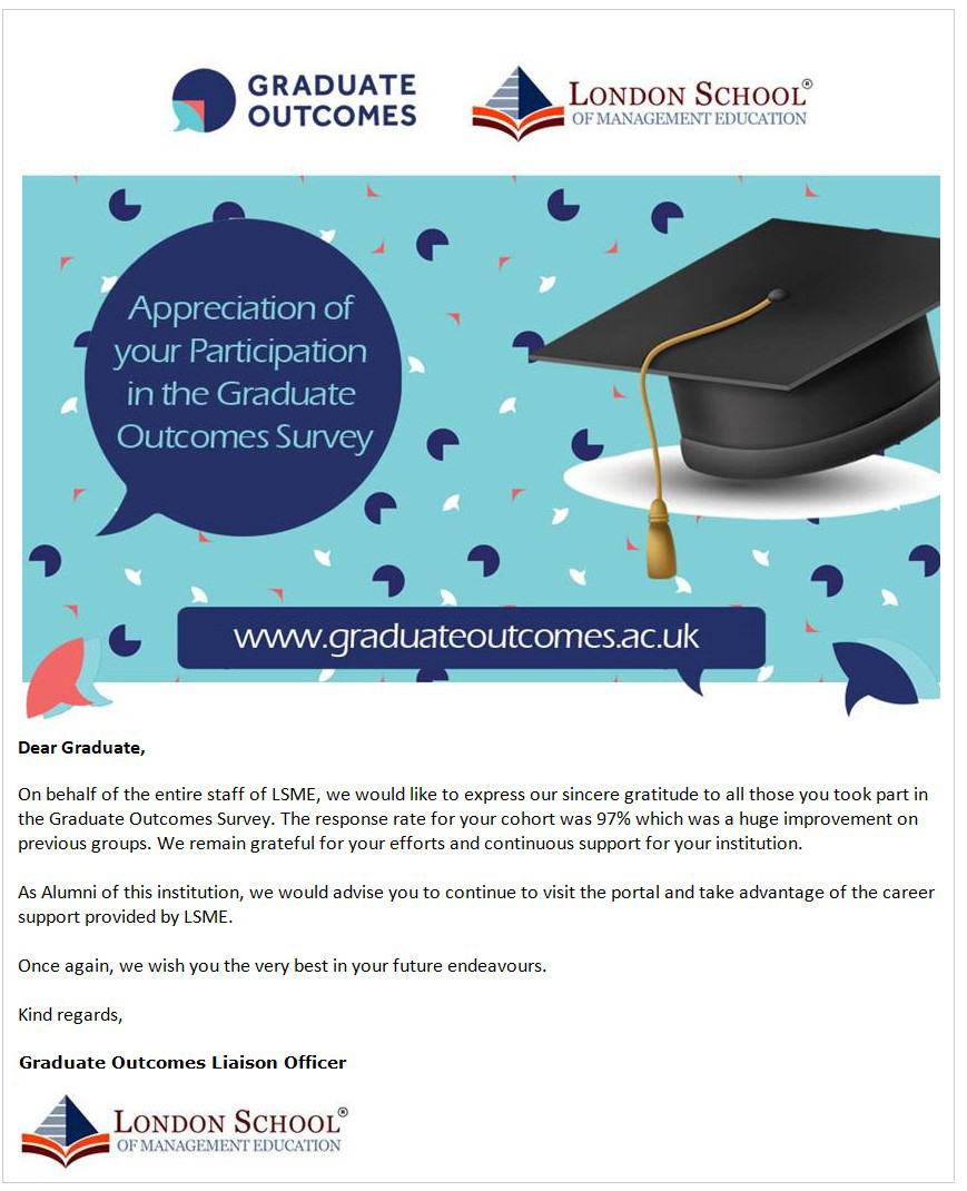 An example email sent to LSME graduates to thank them for taking the survey.