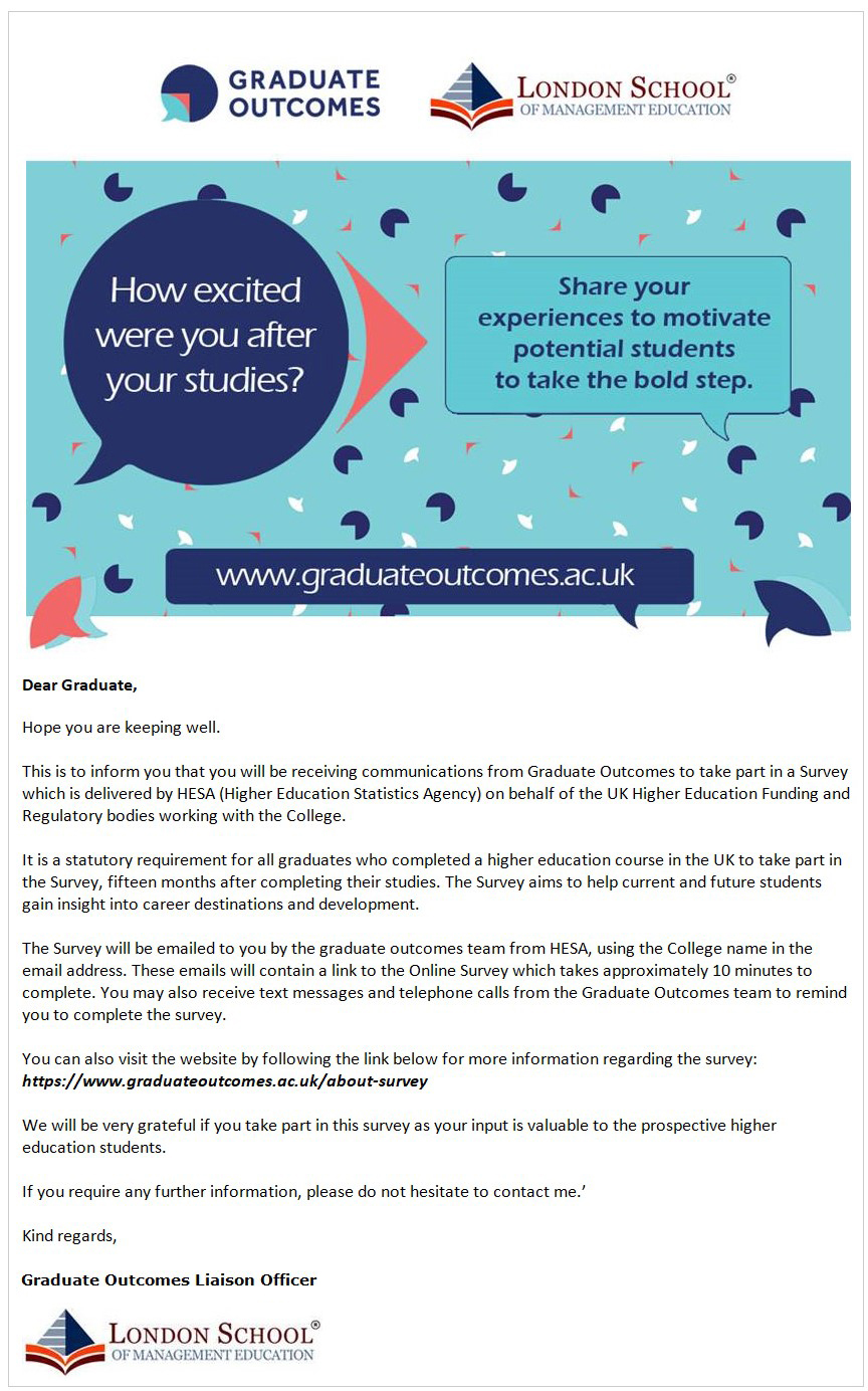 An example email sent to LSME graduates a week before the survey.
