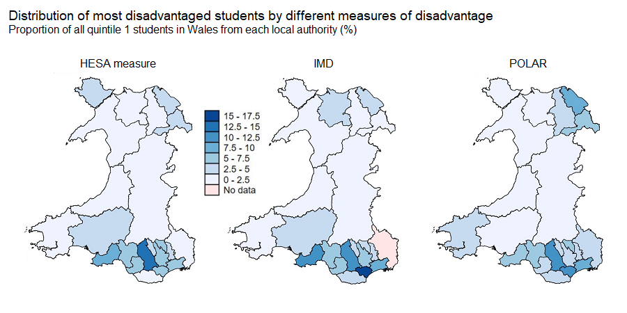 HESA, IMD and POLAR measures identify a similar distribution of disadvantage across Wales. Only the HESA measure identifies disadvantaged students from Monmouthshire. Further detail is described in the text of the page.