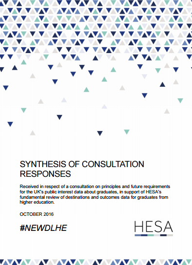 Cover of the NewDLHE consultation synthesis document