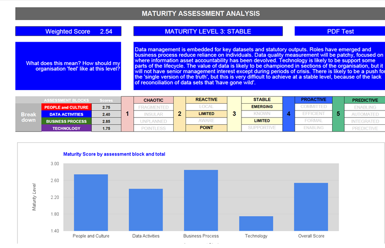 Data capability - Maturity Assessment Analysis results