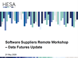 Software suppliers Data Futures remote workshop 21 May 2020