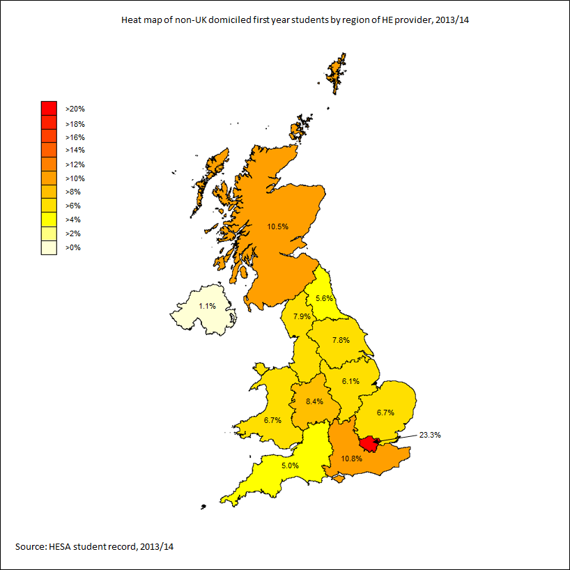 Heat map of non-UK domiciled first year students by region of HE provider, 2013/14