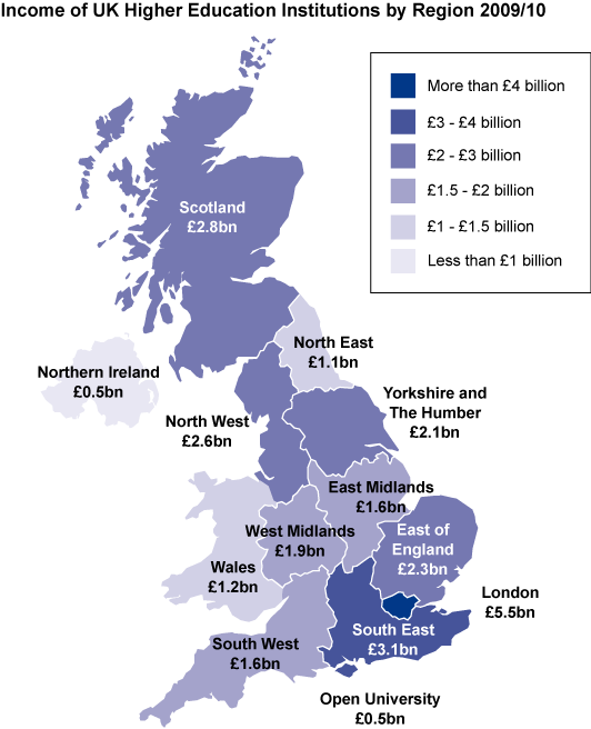 Income of UK Higher Education Institutions by Region