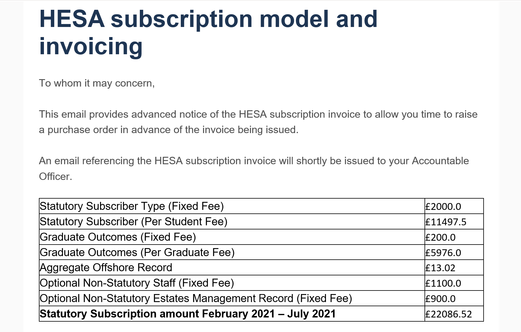 HESA subscription email example