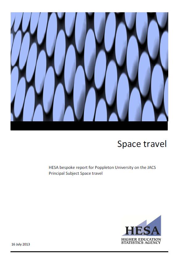 Sample bespoke data report: Space Travel for Poppleton University