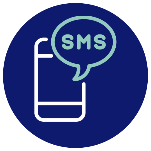 A symbol depicting a text message arriving on a phone.